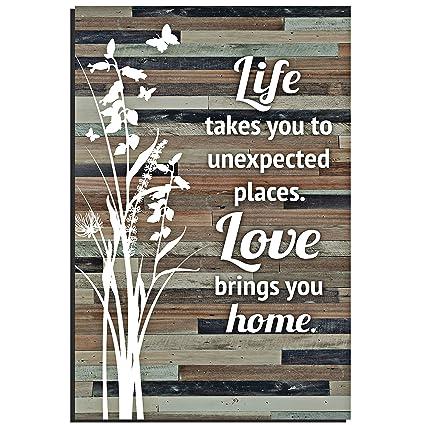 Amazoncom Life Love Wood Plaque Inspiring Quotes 6x9 Inch