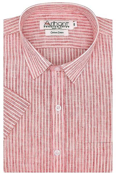 Arihant Men's Cotton Linen Striped Half Sleeves Regular Fit Formal Shirt Formal Shirts at amazon
