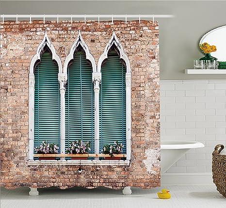 Great tenda da doccia venezia by ambesonne stile antico gotico windows con vasi su muro with - Bagni stile antico ...