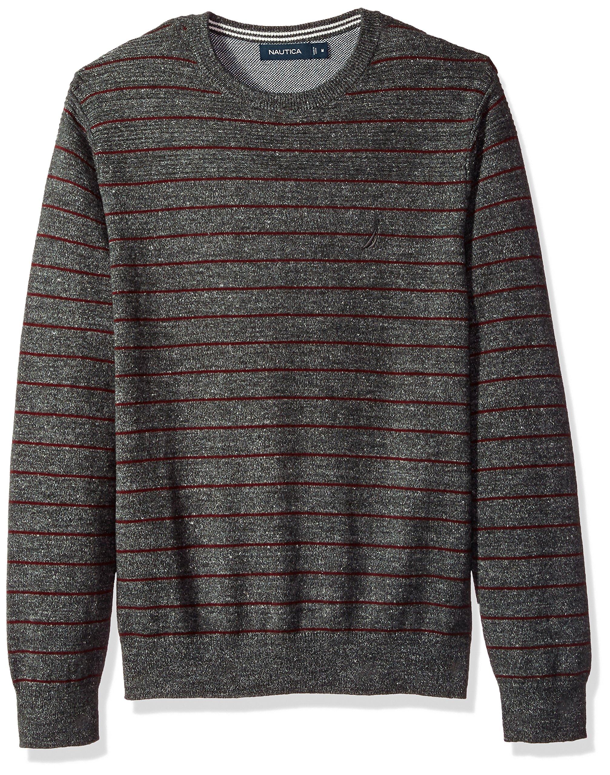 Nautica Men's Standard Long Sleeve Striped Crew Neck Sweater, True Black, X-Large