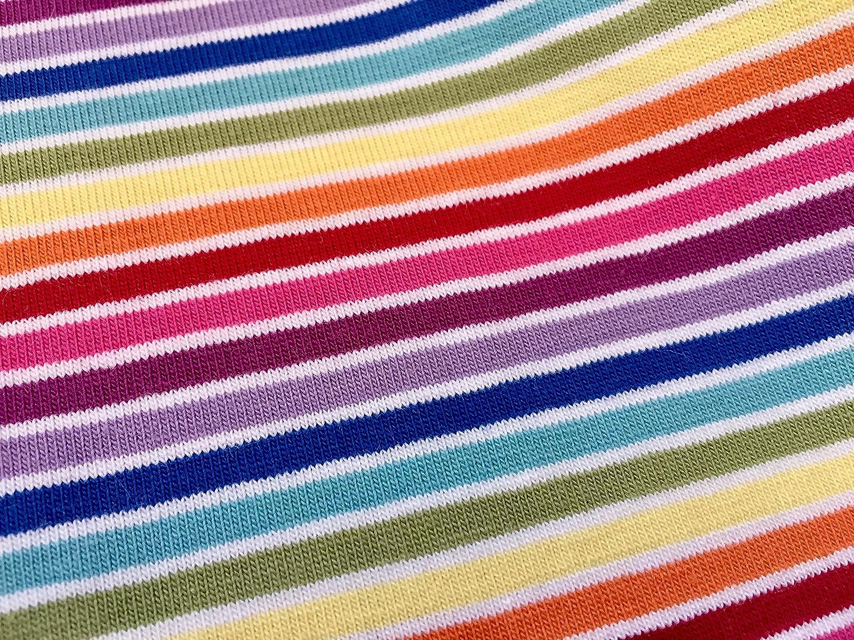 e016e9bea9a MULTI STRIPE White Rainbow Jersey Knit Elastane - 4 Way Stretch Rib Cuff  Fabric - 155cm wide (sold by the metre): Amazon.co.uk: Kitchen & Home