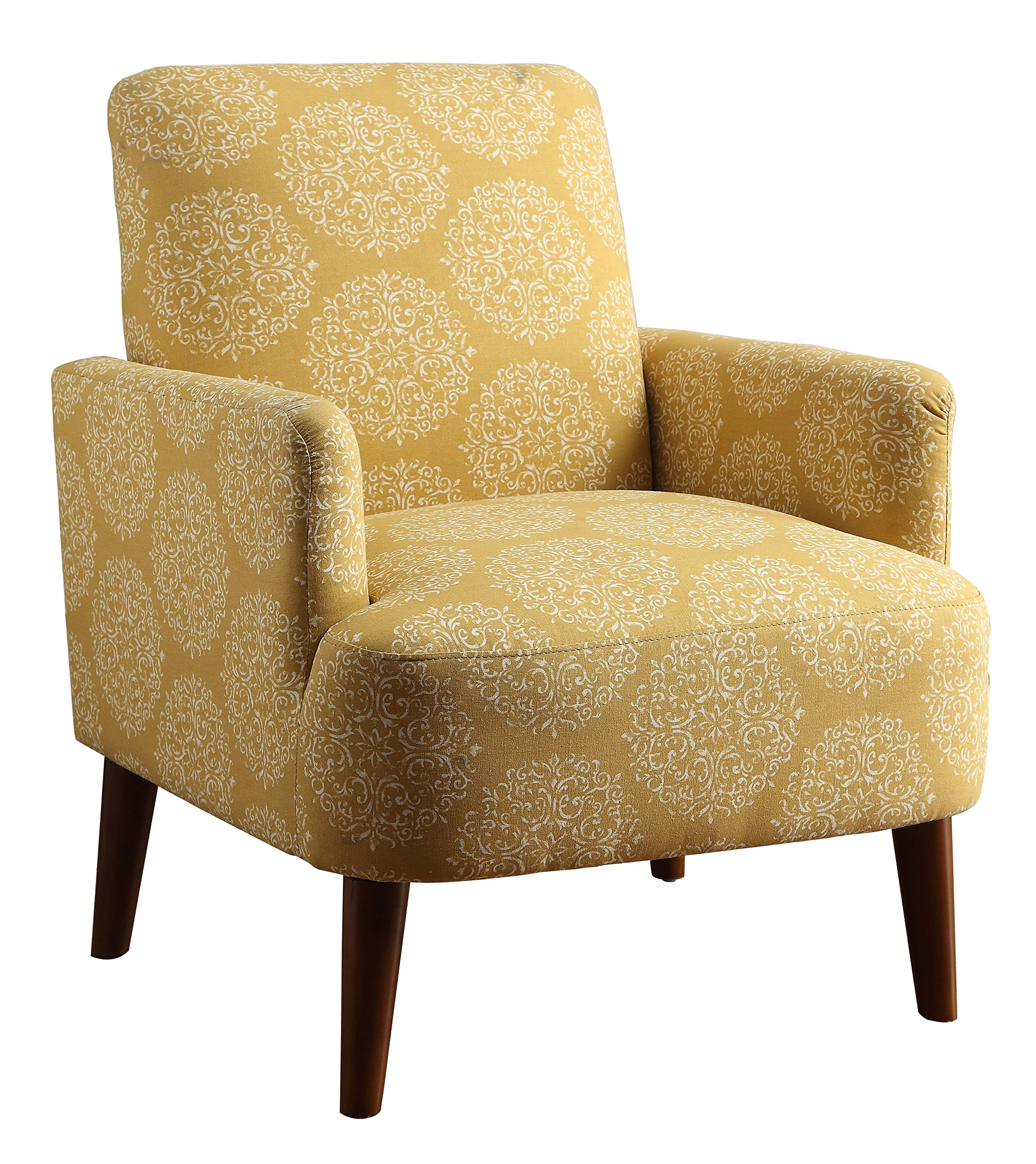 HOMES: Inside + Out IDF-AC6189YW Whilma Accent Living Room Chair, Yellow