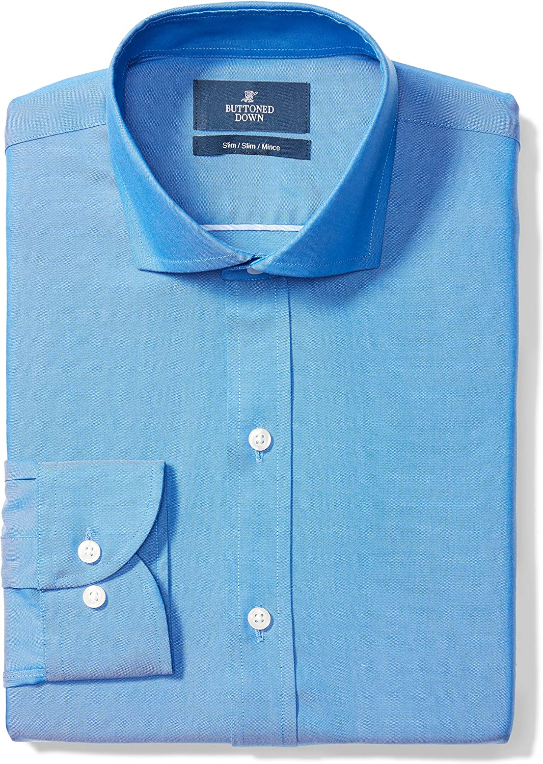 Supima Cotton Non-Iron Brand BUTTONED DOWN Mens Slim Fit Cutaway-Collar Solid Pinpoint Dress Shirt