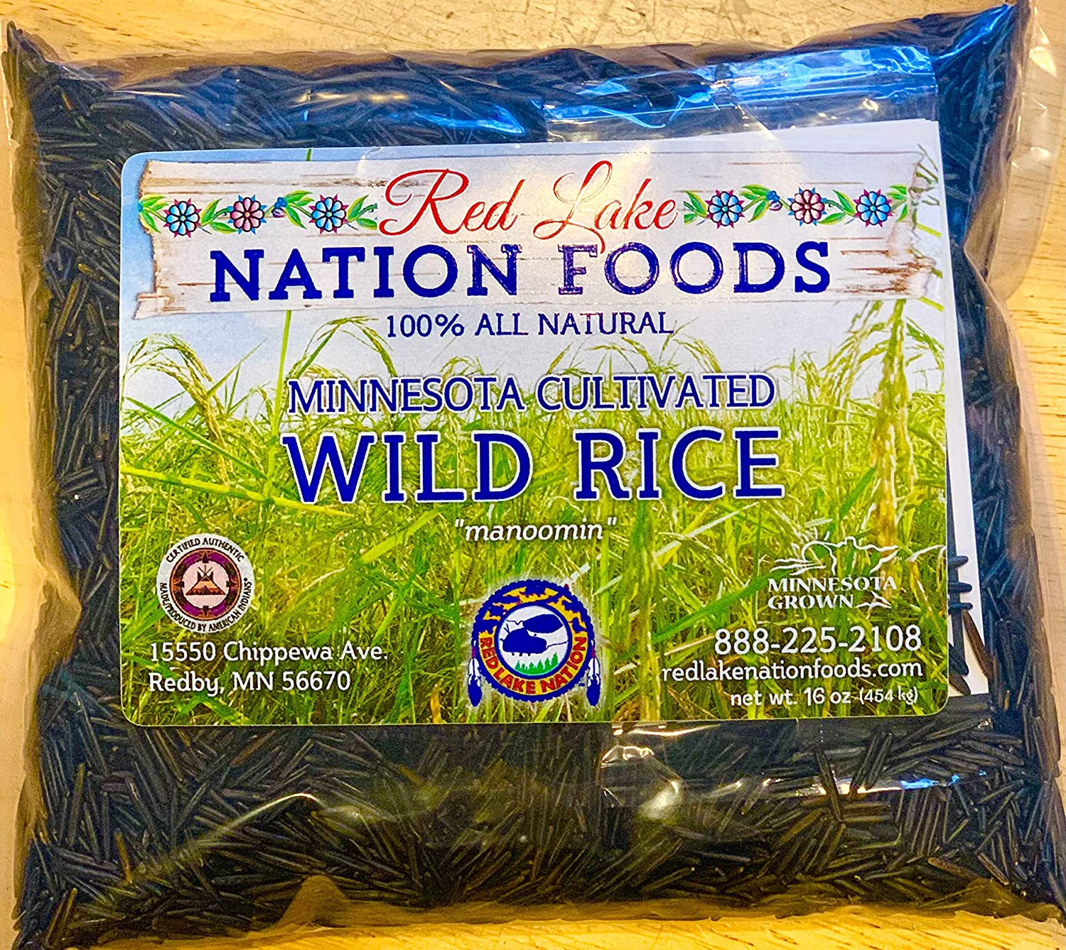 (GLUTEN FREE) Red Lake Nation 100% All Natural Minnesota Cultivated Wild Rice, ONE POUND