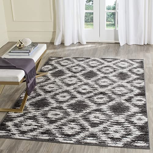 Safavieh Adirondack Collection ADR118R Charcoal and Ivory Modern Geometric Area Rug 6 x 9