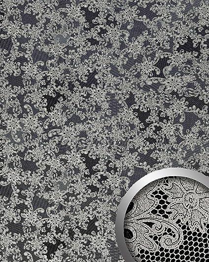 Revestimiento mural Estilo cuero encaje francesa WallFace 17844 LACE Panel de lujo autoadhesivo negro platino 2