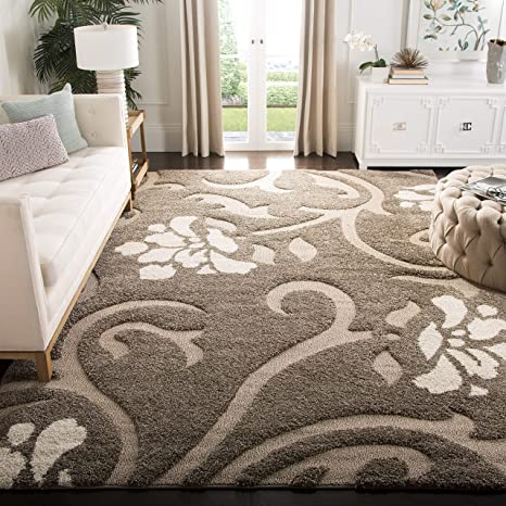 Amazon Com Safavieh Florida Shag Collection Sg464 Floral Non Shedding Living Room Bedroom Dining Room Entryway Plush 1 2 Inch Thick Area Rug 5 3 X 7 6 Smoke Beige Furniture Decor