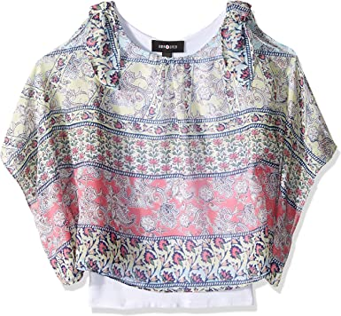 Amy Byer Womens Plus-Size V Front Popover Top with Necklace Blouse