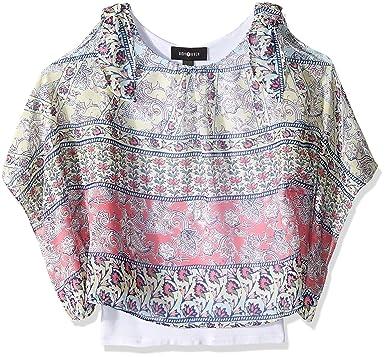 f018de85e99 Amazon.com  Amy Byer Girls  Big Print Cold Shoulder Poncho with Tank ...