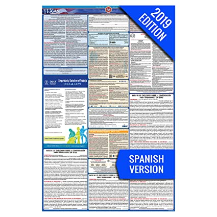 2019 Texas (Spanish) Labor Law Poster –State, Federal, OSHA Compliant –  Laminated Mandatory All in One Poster