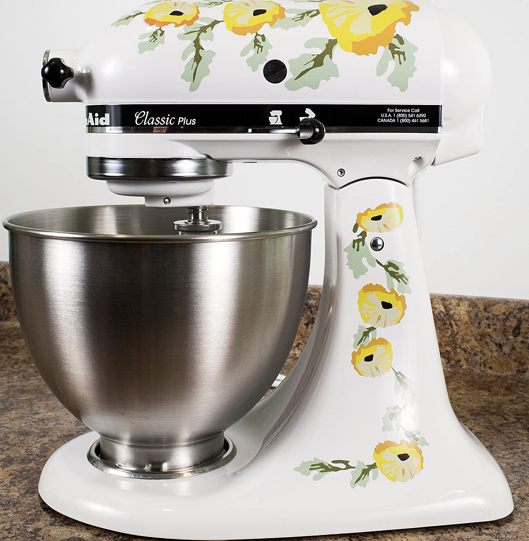 Yellow Poppy Flowers Watercolor Vinyl Decals for Kitchen Mixers