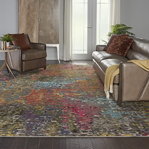 Unique Loom Aurora Collection Floral Vintage Over-Dyed Beige Area Rug 10 0 x 13 0