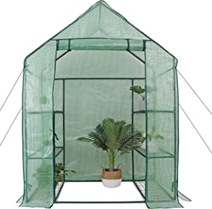 BBBuy Walk-in Greenhouse 3 Tiers 6 Shelves Indoor Outdoor with PE Cover and Roll-Up Zipper Door Mini Planter House for Grow Seeds& Seedlings, Herbs, Tend Potted Plants