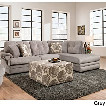 SOFA TRENDZ Plush Grey And Brown Velvet Sectional Grey