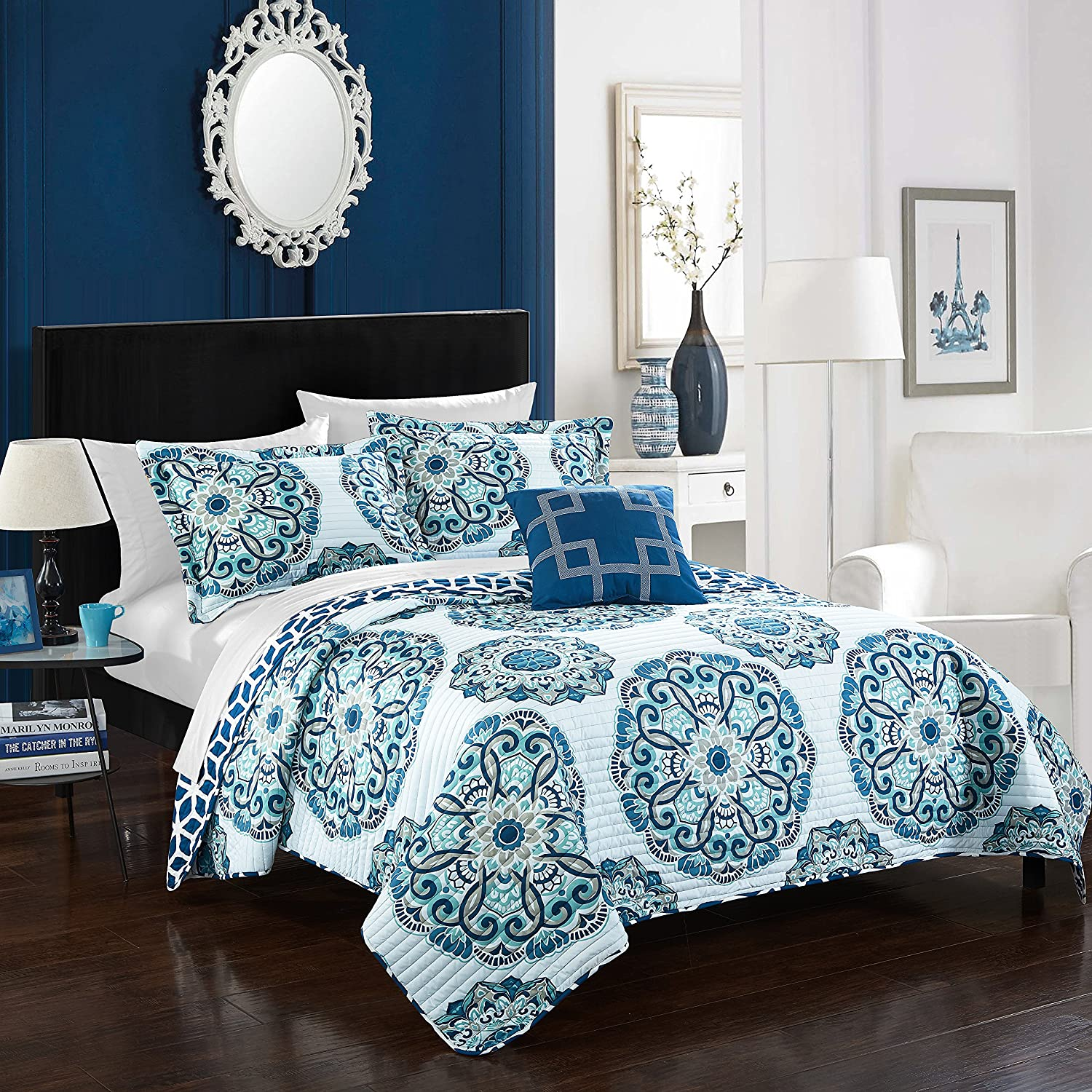 Chic Home Madrid 3 Piece Reversible Quilt Set, Twin, Blue