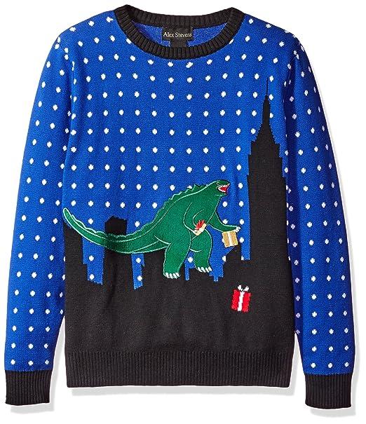 alex stevens little boys toddler t rex godzilla sweater blue combo