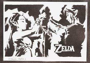 Zelda And Link Poster Handmade Graffiti Street Art - Artwork