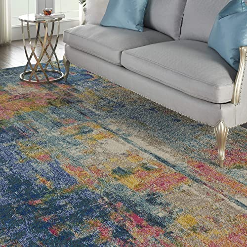 Nourison Celestial Colorful Modern Multicolor Oversized Rug 9 X12 , BLUE YELLOW