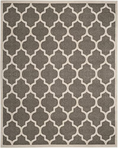 Safavieh Amherst Collection AMTW420R Moroccan Geometric Area Rug, 10 x 14 , Dark Grey Beige