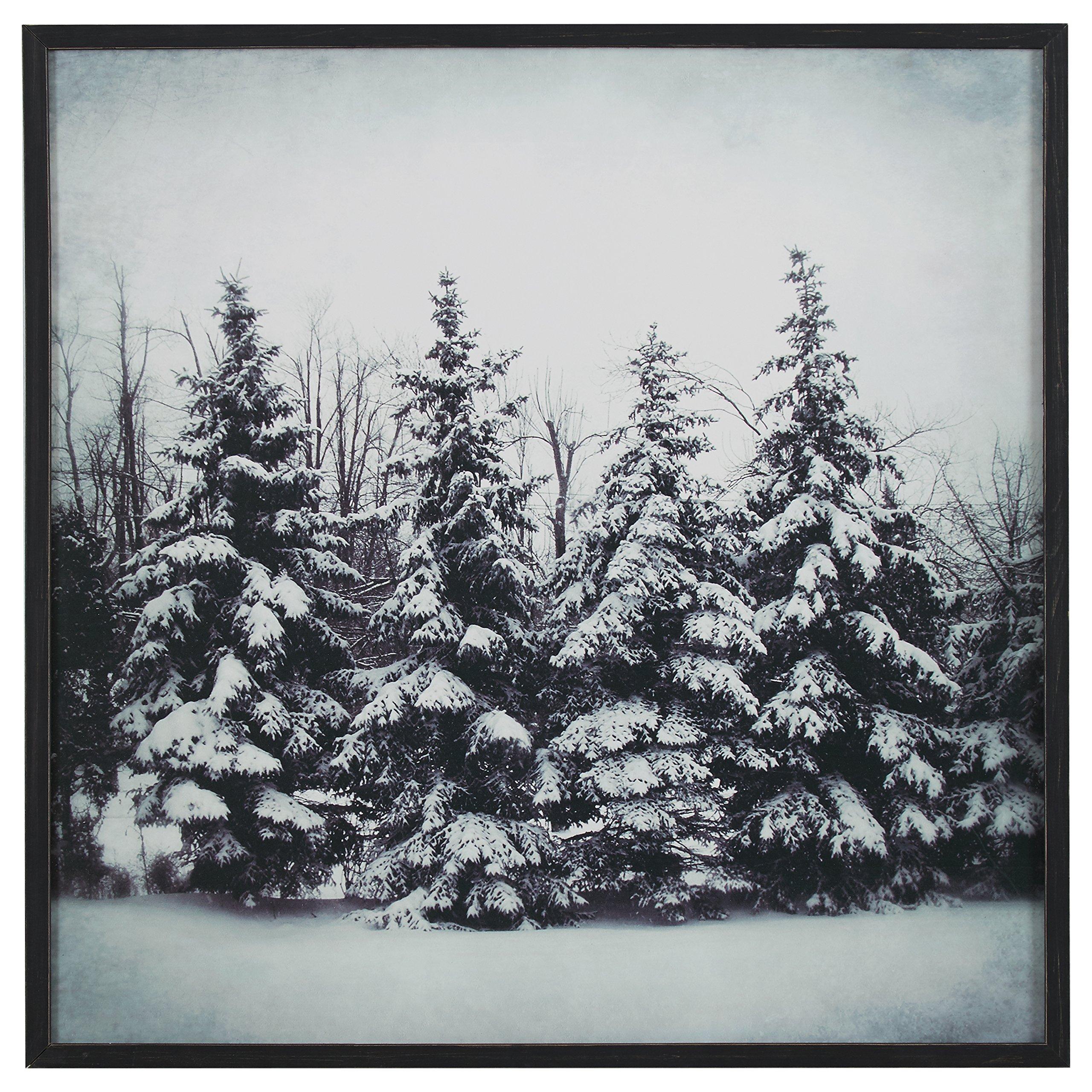Modern Black and White Print of Forest Snow, Black Frame, 30'' x 30''