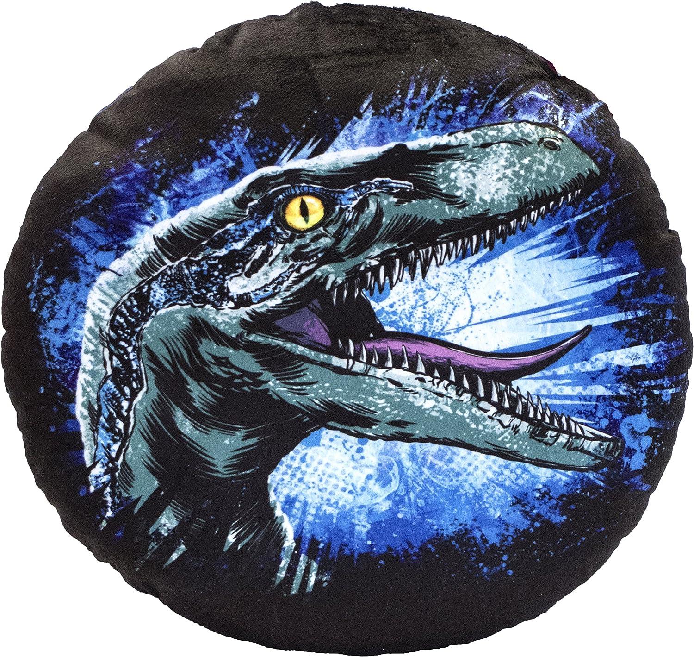 /imprim/é des Deux c/ôt/és/ Multicolore /Diam/ètre: 32/cm Jurassic World 75457/Blue Ronde Coussin en Peluche/