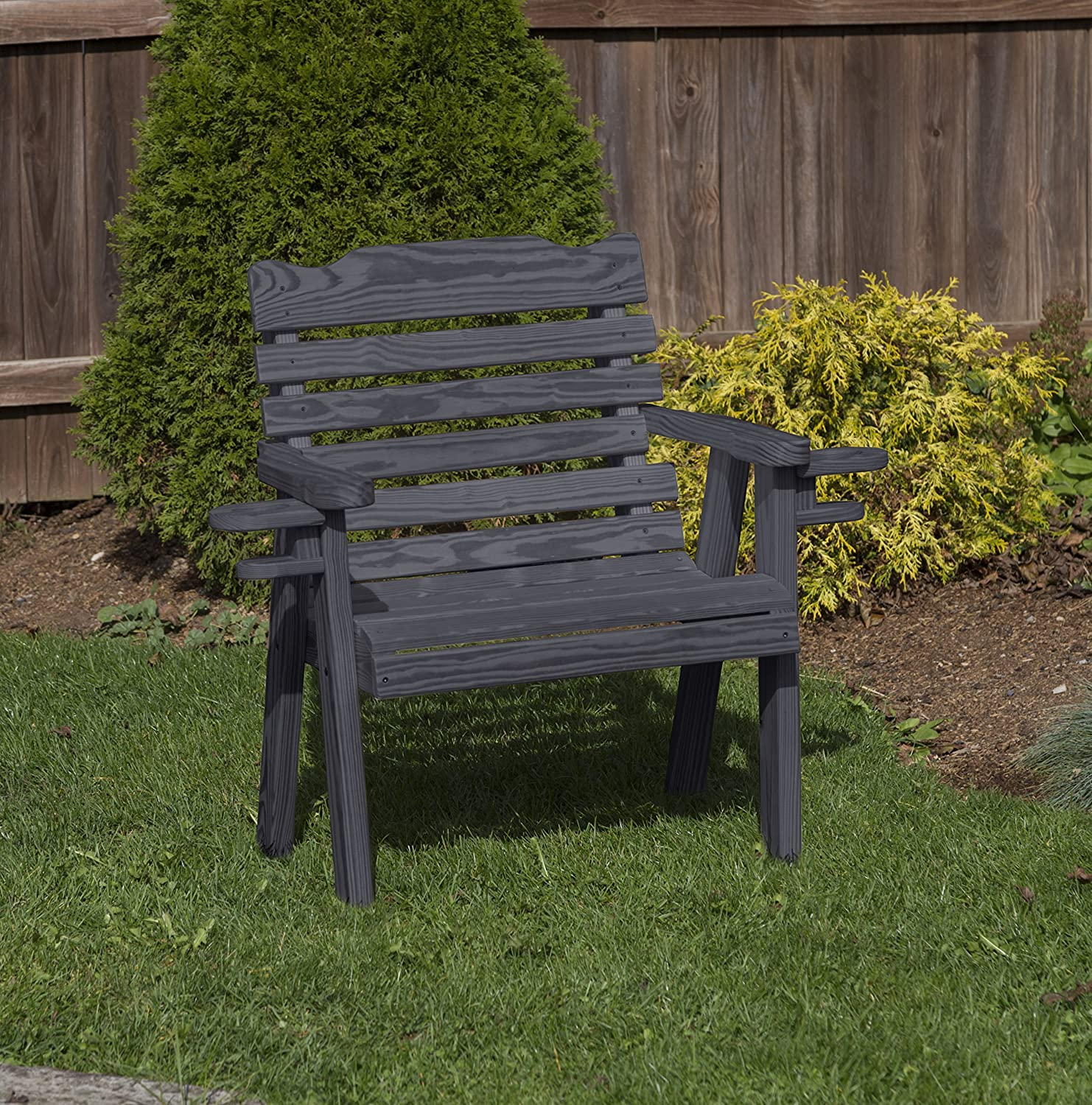 Amish Heavy Duty 800 Lb Classic Park Style Pressure Treated Garden Patio Outdoor Bench Chair 2 FEET with Cup Holders Black-Made in USA