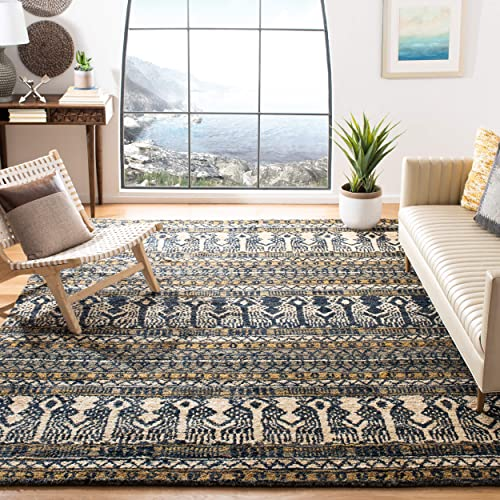 Safavieh Bohemian Collection BOH648A Hand-Knotted Blue Jute Area Rug 4 x 6