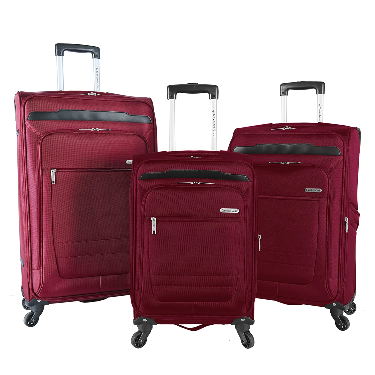 e9d87c6b7 Amazon.com | Travelers Club Luggage 3 Piece Top Durable Expandable Spinner Luggage  Set, Black | Luggage Sets