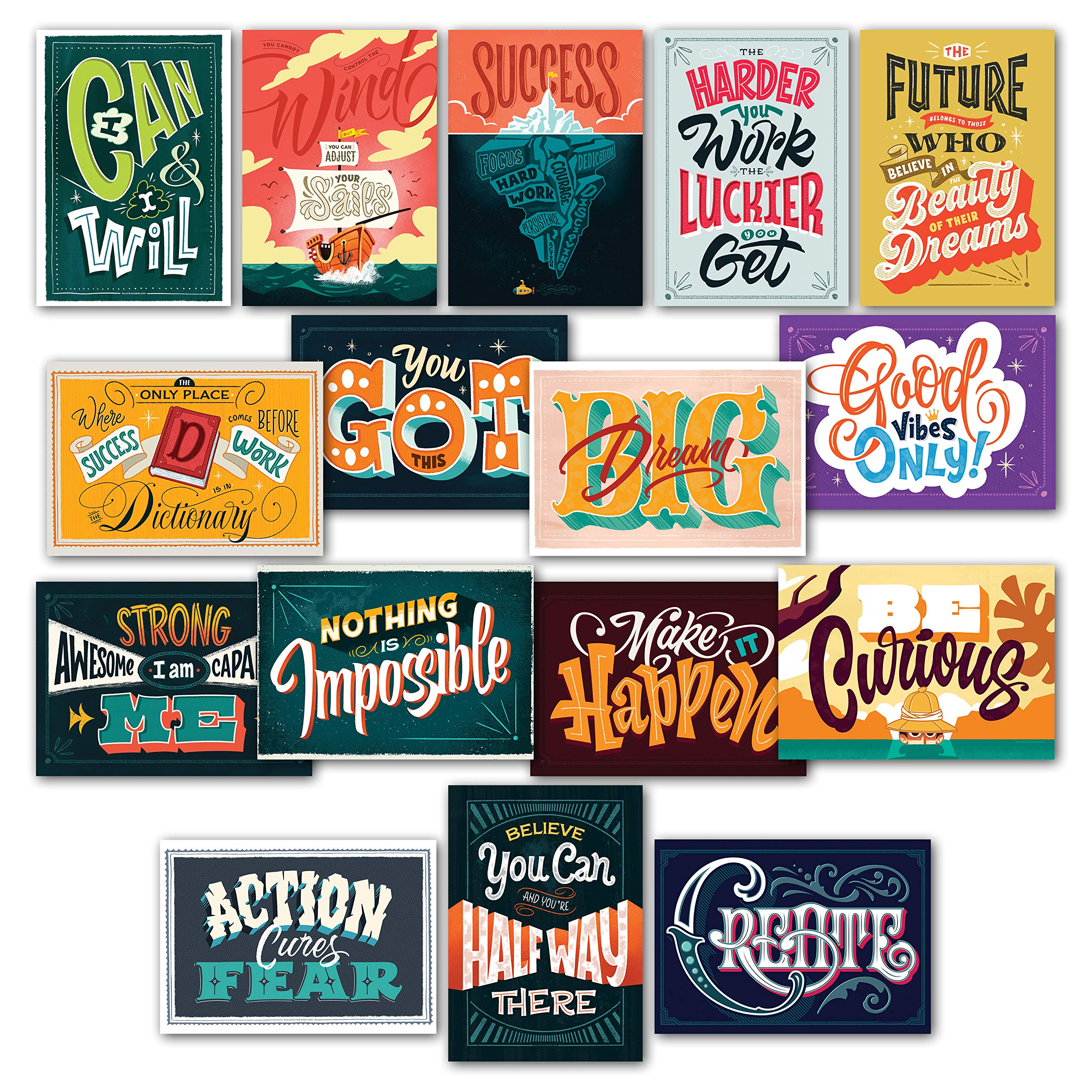 16 Inspirational Classroom Posters - Full Color Motivational Quotes for Students - Teacher Classroom Decorations 13 x 19 (Paper) 003