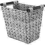Whitmor Split Rattique Waste Basket with Wood Handles - Gray Wash