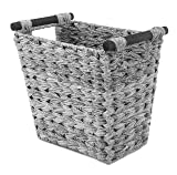 Whitmor Split Rattique Waste Basket with Wood