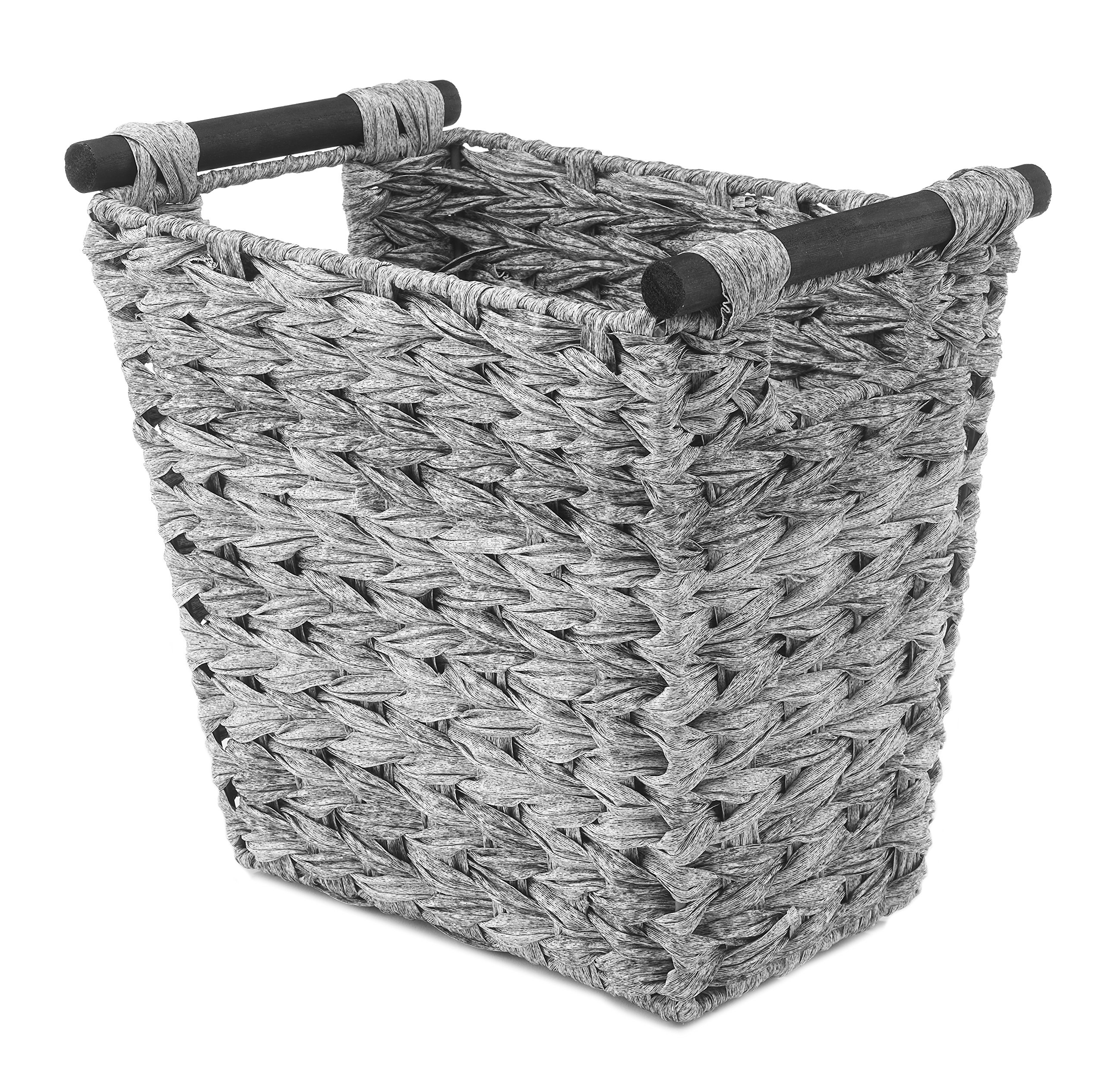 Whitmor Split Rattique Waste Basket with Wood Handles - Gray Wash by Whitmor