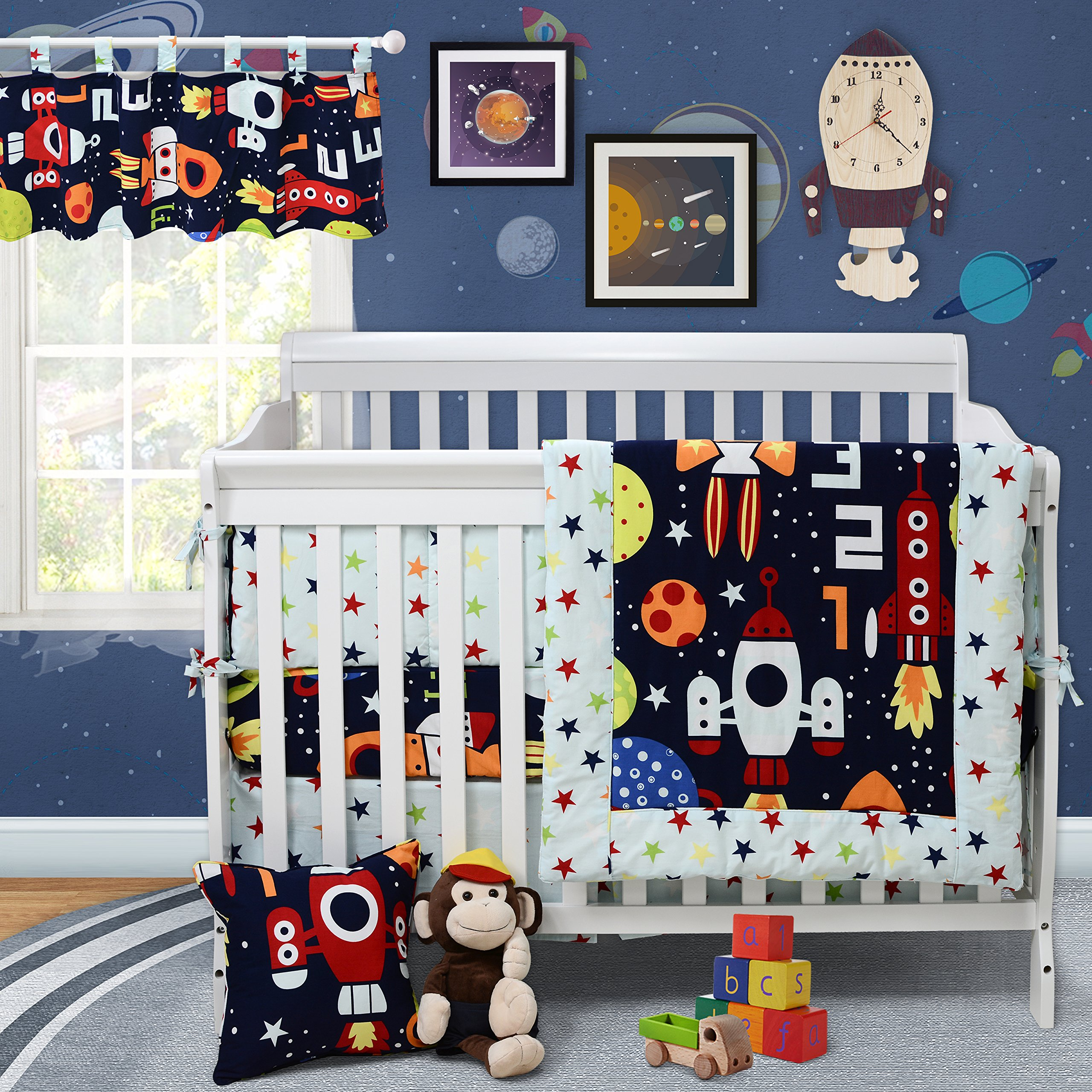 Baby Bedding Set for Boys Galaxy Space Bedding Set 100% Cotton Blue Crib Bedding Set with Bumper by Brandream, 9 pieces