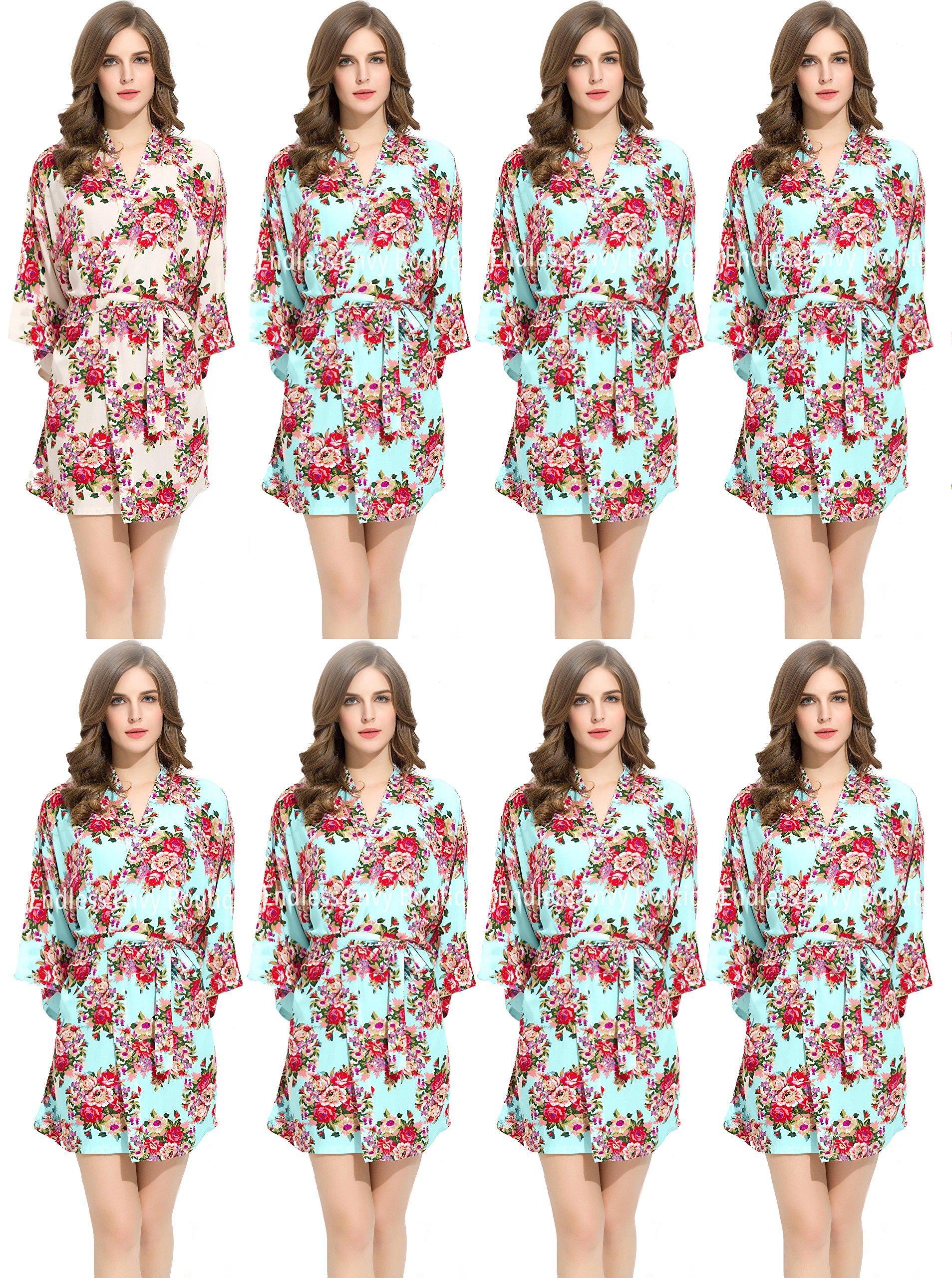Floral Cotton Bridesmaids Robe 7 Mint & 1 White Wedding Bride by Endless Envy