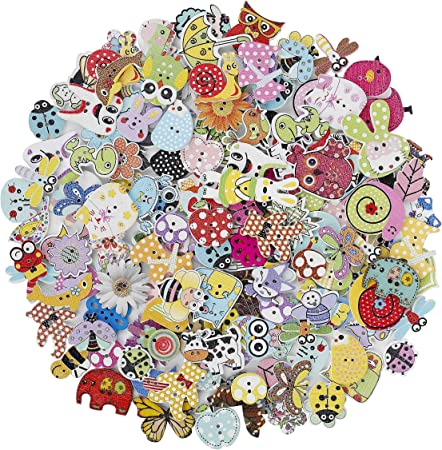 100 New Mixed Wooden Flower 2 Holes Wood Buttons Fit Sewing Or Scrapbook 15mm