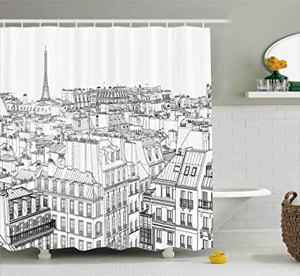 Ambesonne Paris Shower Curtain Architecture Theme Design Illustration Of Roofs In And Eiffel Tower