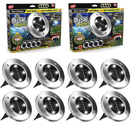Disk Lights Solar Powered Auto On/Off Outdoor Lighting As Seen On Tv (Set Of 8; Regular) by Bell + Howell