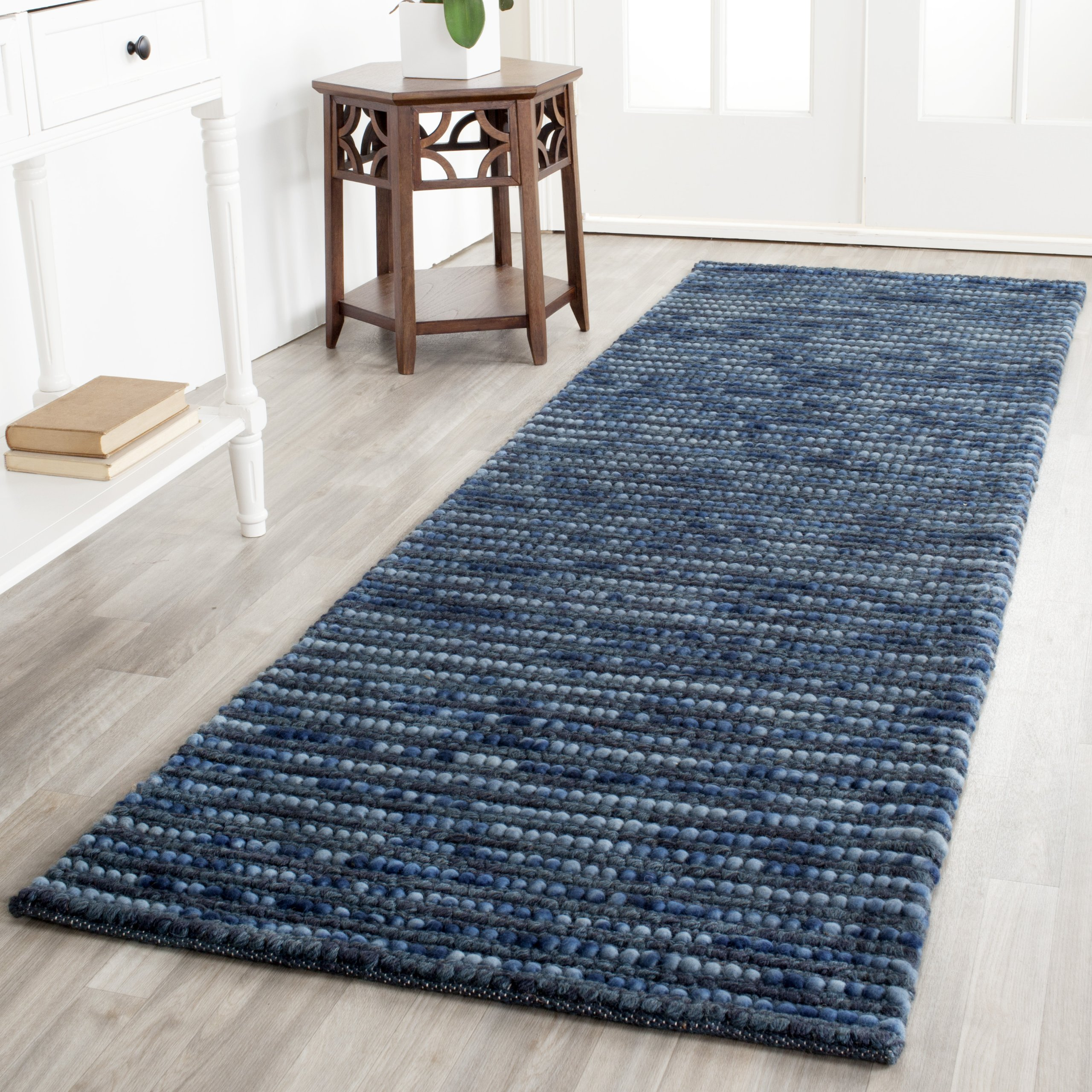 Safavieh Bohemian Collection BOH525G Hand-Knotted Dark Blue and Multi Jute Runner (2'6'' x 14') by Safavieh