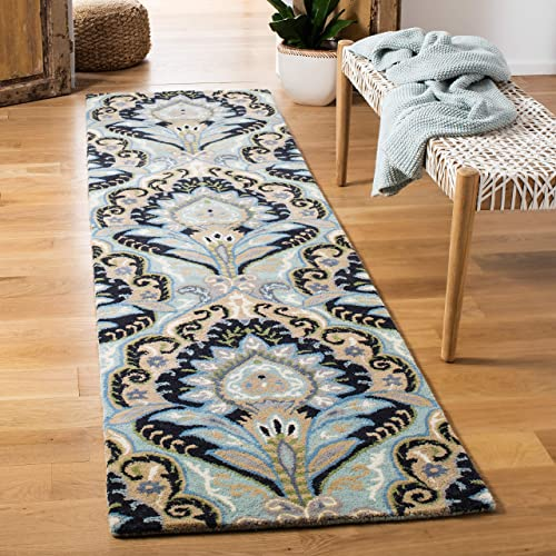 Safavieh Wyndham Collection WYD374A Handmade Blue and Multi Wool Runner, 2 feet 3 inches by 9 feet 2 3 x 9