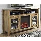 "WE Furniture 58"" Wood Highboy Fireplace Media TV Stand Console - Barnwood"