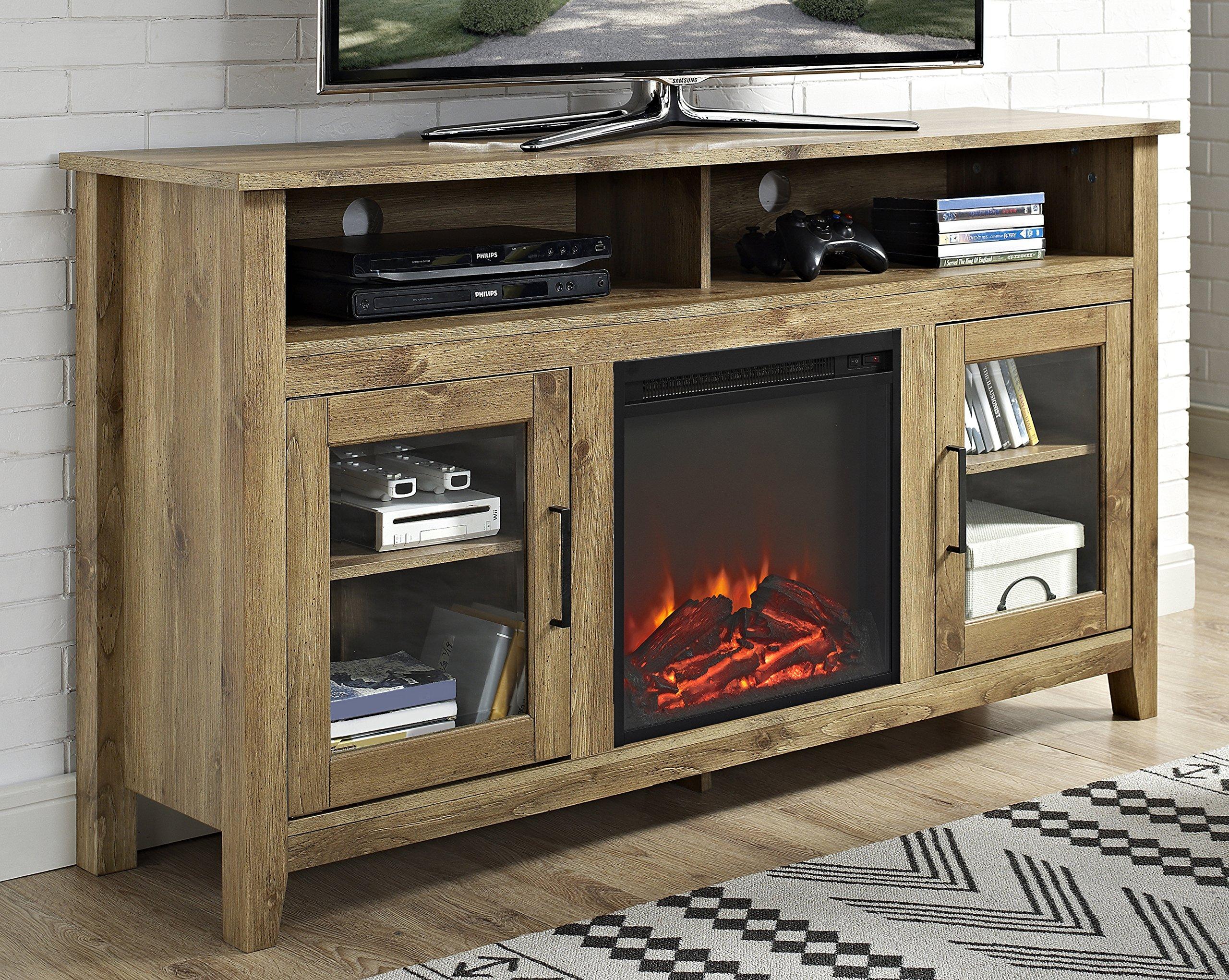 WE Furniture 58'' Wood Highboy Fireplace Media TV Stand Console - Barnwood