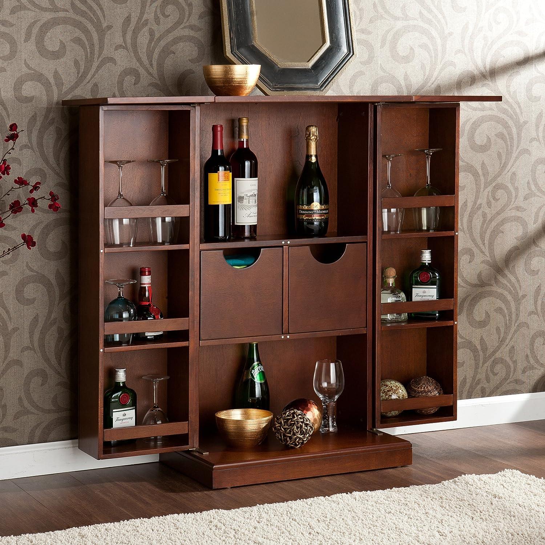 Amazon.com: Southern Enterprises Fold Away Bar Cabinet, Walnut Finish:  Kitchen U0026 Dining