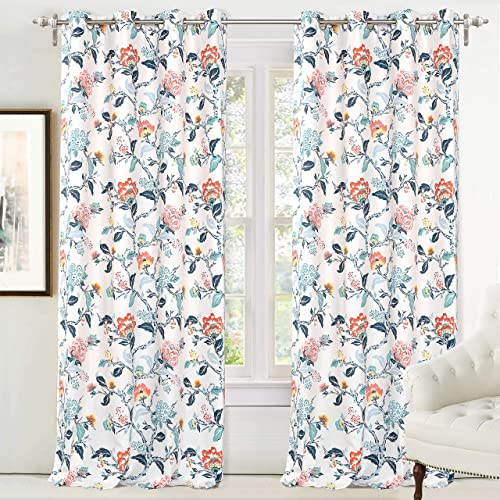 DriftAway Ada Floral Botanical Print Flower Leaf Lined Thermal Insulated Room Darkening Blackout Grommet Window Curtains 2 Layers Set of 2 Panels Each 52 Inch by 96 Inch Ivory Blue Blush and Gray