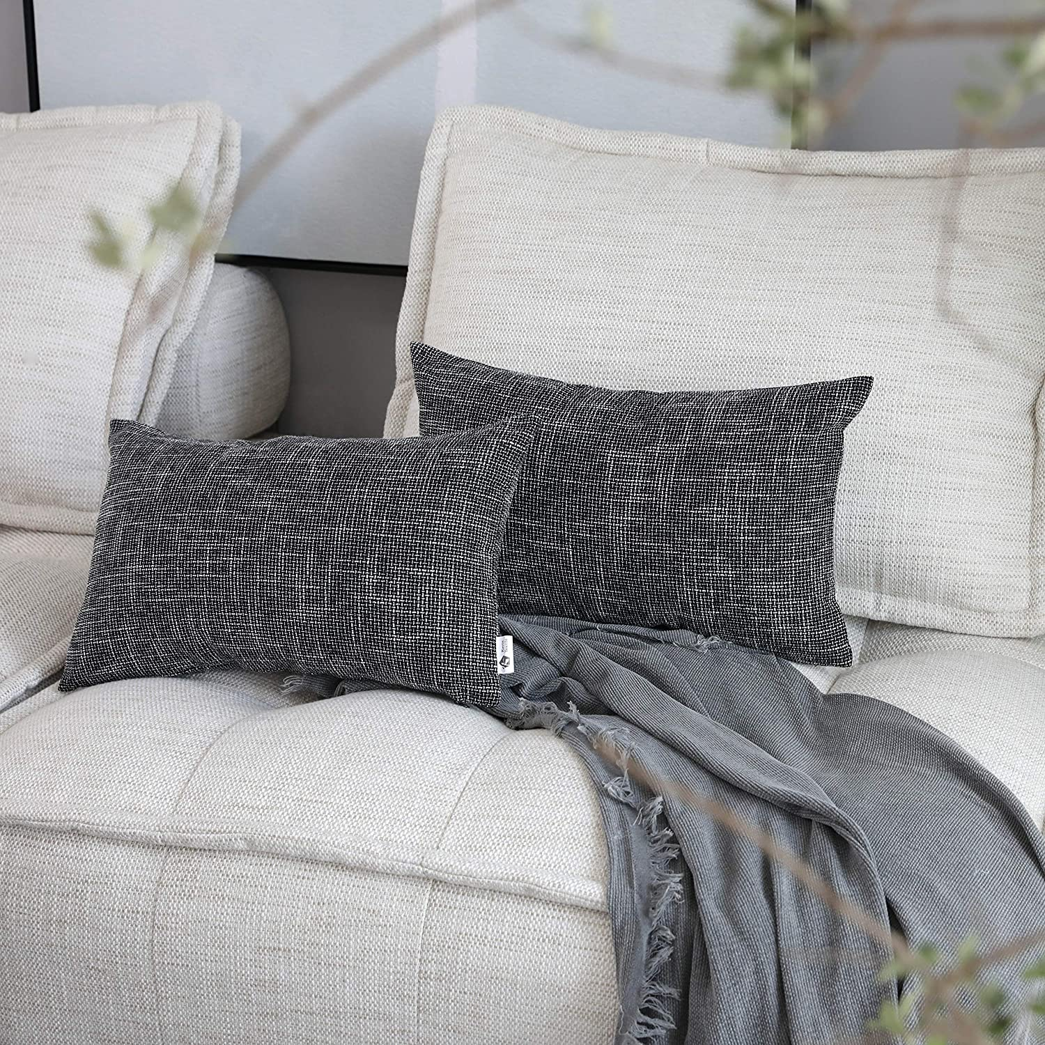 Kevin Textile Faux Linen Square 2 Tone Woven Fine Throw Pillow Sham Cushion Case Covers for Car/Couch Use, 12x20 inch(2 Packs, Black)
