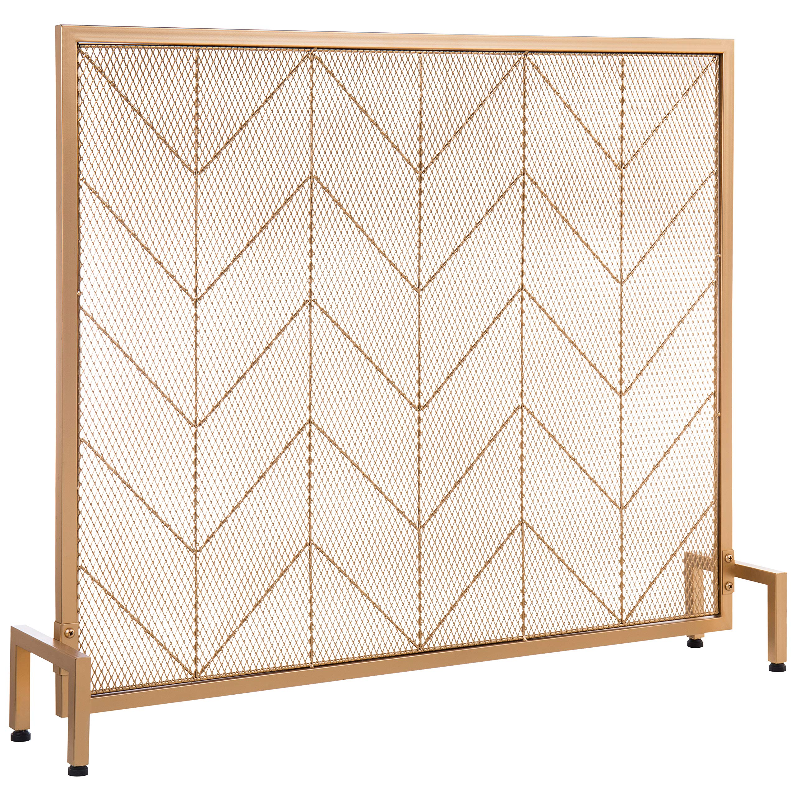 MyGift Vintage Gold-Tone Chevron Design Metal Freestanding Fireplace Screen by MyGift