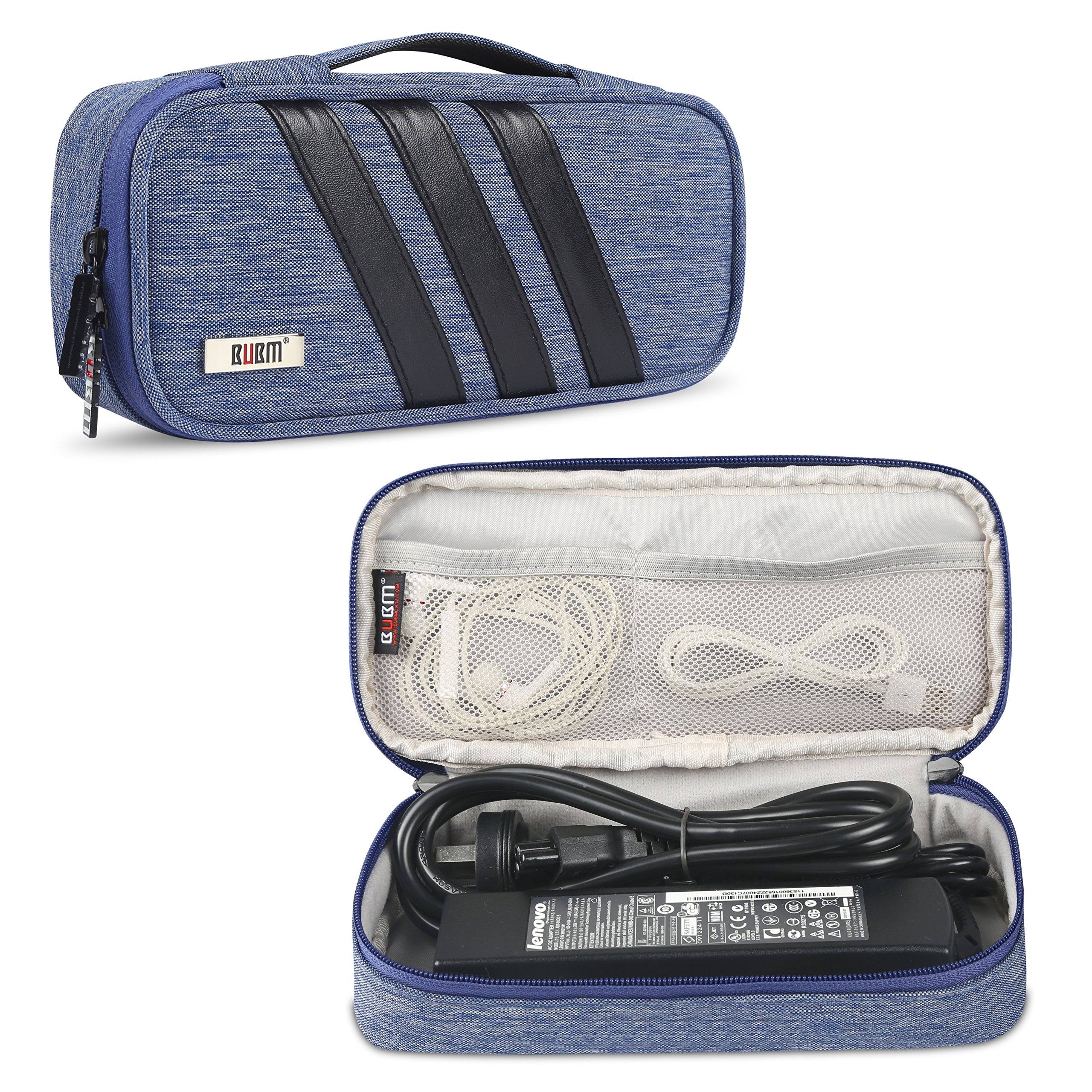 BUBM Carrying Bag for AC Adapter, Travel Organizer for Laptop Charger, Pouch Cover Case for Power Cord and Other Accessories, Blue