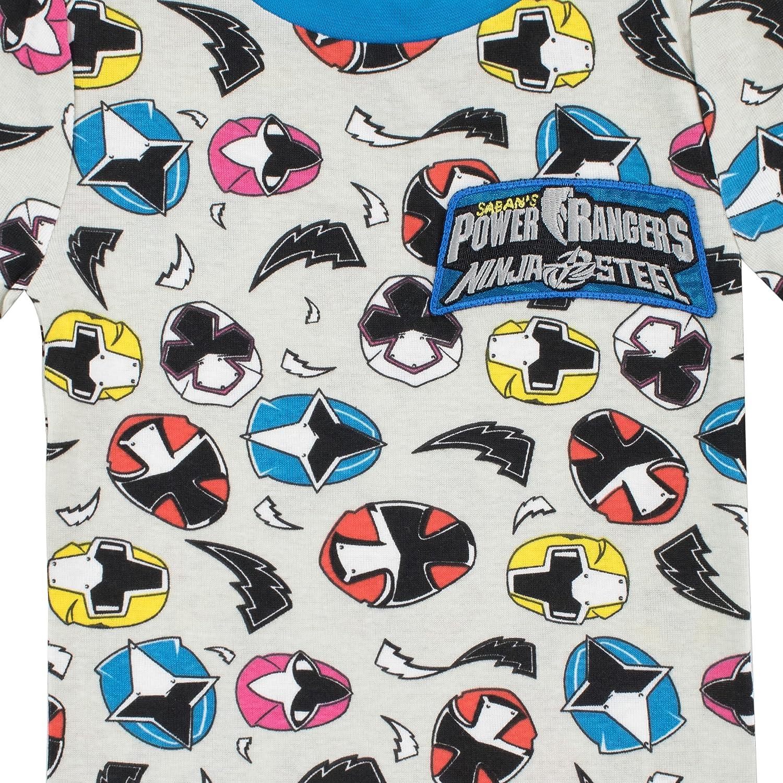 Power Rangers Pijamas de Manga Corta para Niños Ninja Steel Ajuste Ceñido