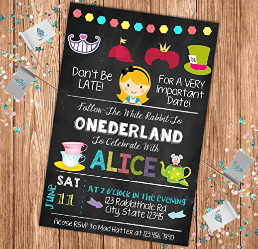AmazonCom Alice In Onederland Custom Chalkboard Invitation