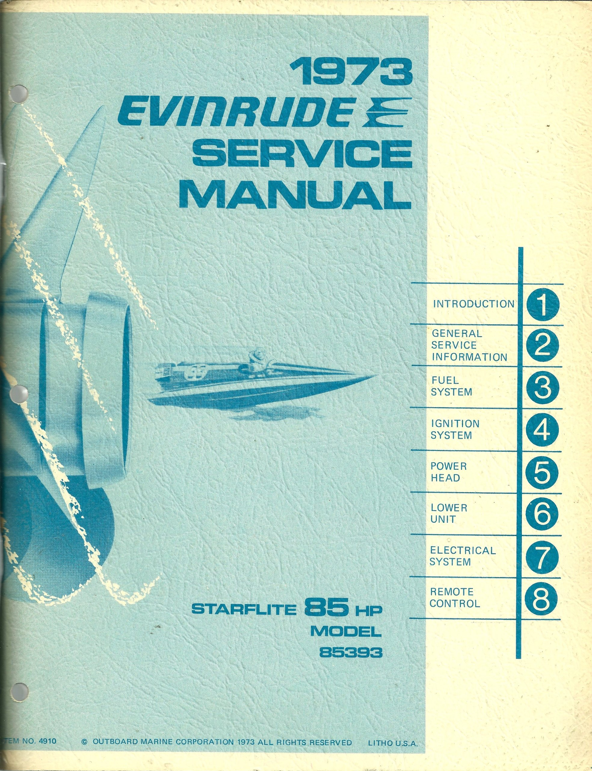 1973 evinrude 135 wiring diagram 1973 evinrude service manual starflite 85 hp model 85393  1973 evinrude service manual