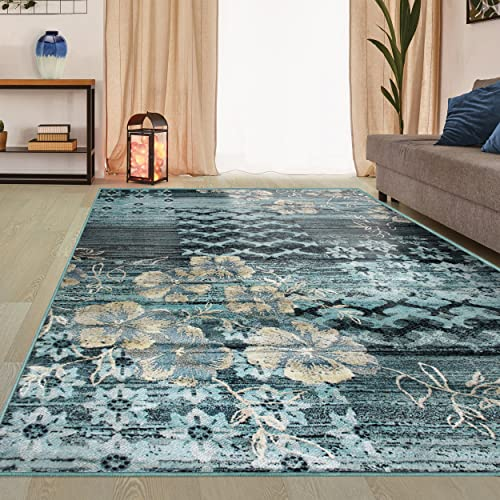Superior Kennicot Collection Area Rug, 10mm Pile Height with Jute Backing, Fashionable and Affordable Rugs, Floral Geometric and Striped Design – 4 x 6